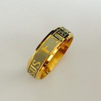 Di alta qualità 8mm in acciaio inossidabile 316L in oro 18 carati placcato in oro anello cristiano gesù croce lettera bibbia anello d'argento fascia uomo donna all'ingrosso