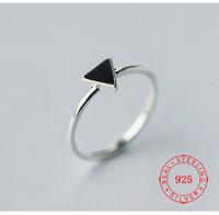 S925 silver ring female Korean geometric triangle ring black...