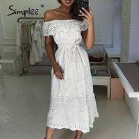 Vestidos casuais Simplee sexy fora do ombro ruffle mulheres vestido de algodão elegante botões bordados longos verão Senhoras de verão branco 2021