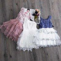 Лето Детские платья для девочек Цветок платье принцессы Кружева Пачка партии Детские платья Casual Wear Daily Baby Girl одежда