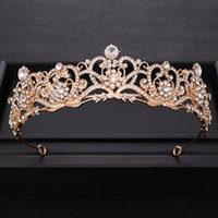 Vintage Rhinestone Crystal Gold Crown Princes Wedding tiara Headband Bridal Diadem Dress Party Prom Hair Jewelry Accessories