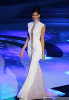 White High Neck Miss Universe Pageant Evening Dresses Bling ...