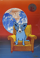 George Rodrigue Blue Dog Space Chair- 2 Home Decor Handpainte...