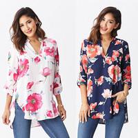 S-XL 플러스 사이즈 여성 우아한 빈티지 긴 소매 V 넥 꽃 무늬 블라우스 스웨터면 OL 셔츠 캐주얼 느슨한 블라우스 탑