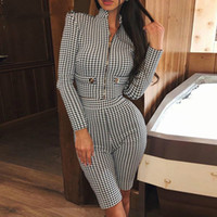 Fashion Two Piece Long Sleeve Jumpsuit Female Houndstooth Zipper Cool Party Romper Women Autumn Winter Bodycon Sexy Playsuit