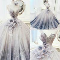 2020 Peri Balo Gelinlik Modelleri Sheer Jewel Boyun El Yapımı Çiçekler Abiye Boncuklu Arapça Parti Abiye Örgün Robes de Soirée