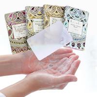 YENİ 25pcs Açık Seyahat Sabun Kağıt Yıkama El Banyosu Temiz Kokulu Dilim Sheets Tek Boxs Sabun Taşınabilir Mini Kağıt Sabun