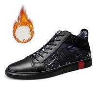 Erkekler Casual Siyah Hakiki Deri Sneakers Man Ayakkabı Zapatos De Hombre casuales Cuero Yüksek Top Chaussure Homme Cuir Sonbahar Kış