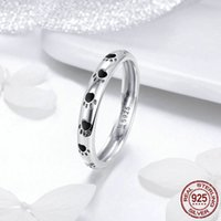 Heißer Verkauf Solider 925er Sterling Silber Ring mit schwarzem Email Tier Haustier Katze Hundes Footprint Ringe Für Frauen Und Mädchen Geschenk Schmuck Freies Verschiffen