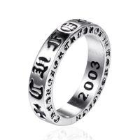 925 Sterling Silber American Europe Fingerringe Schmuck handgefertigt Designer Kreuze Antik Silber Hip Hop Band Ring für Männer