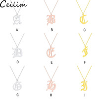 Old English Custom Capital Initial Necklace Silver Gold Colo...