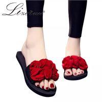 Lizeruee пляжная обувь женщины Приморский отдых нескользящие 1 см чешский цветок плоские тапочки летний отдых мода женские тапочки