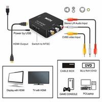 HDMI dönüştürücü TV PS3 PS4 bilgisayar DVD Xbox projektör AV için yüksek kaliteli HD 1080P AV2HDMI adaptör dönüştürücü HDMI RCA AV