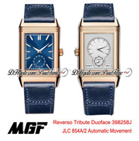 MGF Reverso تكريم DuoFace 398258J JLC 854A / 2 التلقائي رجالي ووتش روز الذهب الأزرق فضة الطلب الأزرق الجلود حزام جديد puretime 01b2