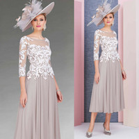 2019 Tea Length Mother Of The Bride Dresses Jewel Neck Lace ...