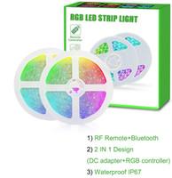 Lampadina 10m DC12V striscia di RGB LED SMD5050 IP67 150LEDs impermeabile multi colori Changeable flessibile del nastro Band + 44 chiavi telecomando RF + Adattatore
