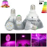 E27 LED Grow Light 6W 10W 30W 50W 80W Full Spectrum LED Grow Lights 85-265V LED-lampor för inomhus trädgårdsväxter Blomma
