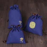 الكتان الأزرق المخملية مجوهرات الحقيبة الرباط حقيبة ماكياج التغليف السفر حقيبة مستحضرات التجميل الحقيبة المحمولة كأس صغير تخزين الحقيبة 2PCS / LOT