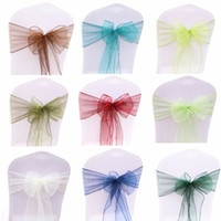 100PCS Wedding Party Organza Fabric Ribbon Chair Sashes For Banquet Event Birthday Party Decoration Home Textile Chair Cover