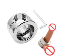 Metallo in acciaio inox cockrings scroto ciondolo anello vincolante anello pene pesi Peniss ritardo anelli BDSM Bondage Giocattoli sessuali Giochi per adulti