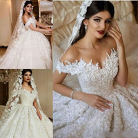 2019 Gorgeous Wedding Dresses Off Shoulder Vintage Lace Appl...
