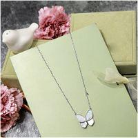 Elegante Perlenschmetterling Anhänger Halskette Sterling Silber Kette Halskette Damen Modeschmuck Natürliche Shell Anhänger Freies Verschiffen