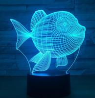 3D LED ضوء الليل تصميم الأسماك 7 اللون اللمس التبديل أدى أضواء البلاستيك لامبش الظاهر 3D USB بدعم من ضوء الليل ضوء الجدة الإضاءة