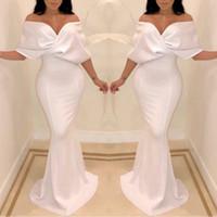 2020 Sexy Blanc Dubai de l'épaule robes de soirée sirène Cape Longueur des manches de plancher occasion formelle Prom Party robes sur mesure