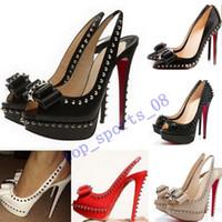 2020 Mode Nieten Fisch Mund Rote Spikes spitz unten Bottoms High Heel Frauen Kleid Schuhe Größe 35-45