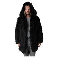 Abrigo de invierno de la moda de los hombres caliente sólida capa de la chaqueta con capucha de color gruesa piel de imitación de Manga Larga Cardigan Negro Hairy