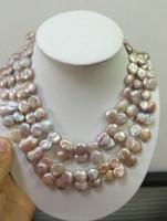 Jewelryr Pearl Necklace 18-19インチ2ストランド14-16mm自然多色パープルパールネックレス送料無料