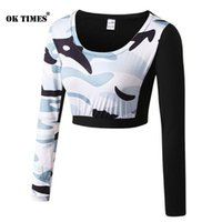 #5015 Women Camouflage Workout Fitness Gym Yoga Long Sleeve ...
