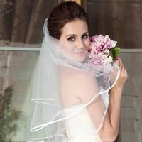 2021 بسيطة قصيرة تول الزفاف الحجاب الأبيض العاج الزفاف الحجاب العروس لمخططات خطاباتخطابهزوجات اكسسوارات