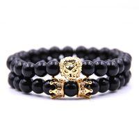 Bead Bracciali Pietra 8 millimetri nero luminoso testa di leone e Doppia Corona Charm Bracelet coppia braccialetto per donne degli uomini 2PCS / set dei monili dell'annata regalo