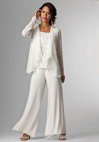 Ivory Chiffon Signora Madre Pantalone Tute madre della sposa abiti sposo madre della sposa pantaloni con i vestiti da partito del rivestimento delle donne pantaloni tute 306