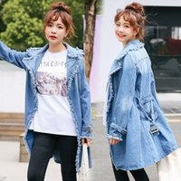 Denim giacca a vento donna Cardigan bavero nappa ragazza Denim Coat 2019 Autunno Denim Capispalla Fashion Casual Lady Coat