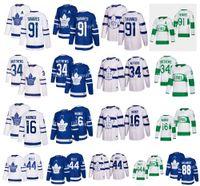 Toronto Maple Leafs Jersey 91 John Tavares C patch 34 Auston Matthews 16 Mitchell Marner um remendo 88 William Nylander 44 Morgan Rielly Hockey