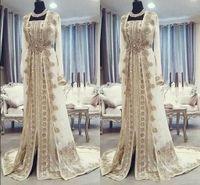 Marokkanische Kaftan Kaftan Abendkleider Dubai Abaya Arabisch langen Ärmeln Erstaunliche Goldstickerei-Platz-Ausschnitt Anlässe Prom Festliche Kleider