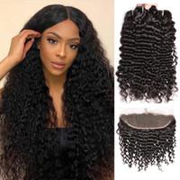8A Grade Brasilianische tiefe lockige Welle Human Hair-Bündel mit 13x4-Spitzen-Frontal-Jungfrau 10-30inch Tiefes lockiges menschliches Haar gewebt