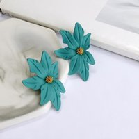 New Trendy Colorful Flower Earring For Women Fashion Sweet F...