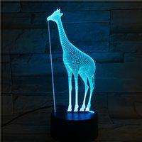Creative Christmas Regalo di Natale notte luce giraffa 3D stereo visione a led luci acrilico colorato telecomando a colori lampade da tocco