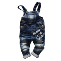 Boys Suspender Pants Baby Boy Jeans Denim Overalls velvet In...