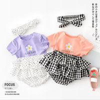 Baby Girl Clothes Flower Girls Tops Shorts Headband 3pcs Set...