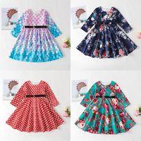 أزياء الفتيات فساتين الربيع والصيف الأسماك مقياس الرومانسية الطباعة طويلة الأكمام جولة الرقبة حزام اللباس