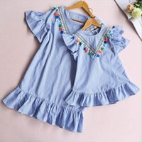 Baby menina família combinando roupas mãe e filha vestido nove quarto listra tassel mini mini moda e filha outfits