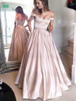 Simple Style Champagne Off The Shoulder Prom Dresses With Pe...