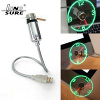 Ventilador Reloj flexible mini USB LED del reloj del ventilador pantalla intermitente Tiempo USB para el cuaderno del cargador del banco de potencia con el reloj Gadgets USB