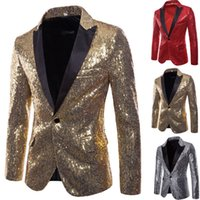 Charm One Button Sequin Suit Blazer Casual Slim Fit One Button Suit Blazer Manteau Tops Hommes Vêtements pour hommes 2019 F1