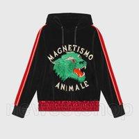 roupas de grife de moda para homens italy MACNETISMO ANIMALE lobo seda bordados manga listrada de veludo hoodies camisola encapuçado do pulôver