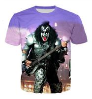 Neueste Art und Weise der Männer / Womans KISS Band-Sommer-Art-T-Shirts 3D-lässig T-Shirt Tops Plus Size BB031 Drucke